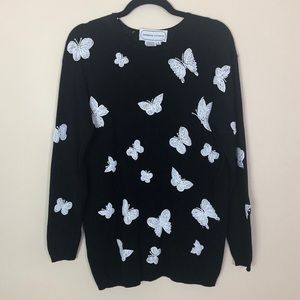 Vintage Beaded Butterfly Sweater